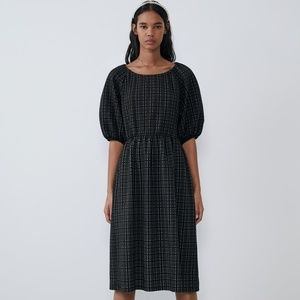 ZARA Black Voluminous Textured Dress